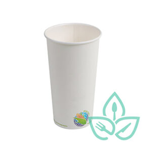Insulated Hot Cups – Compostable White – 20oz