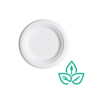 6inch round sugarcane compostable plate
