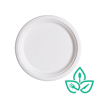 7inch round sugarcane plate compostable