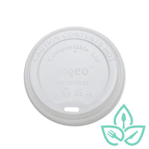 Compostable plastic hot cup lid