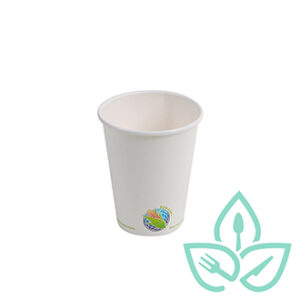 8oz white compostable hot cup