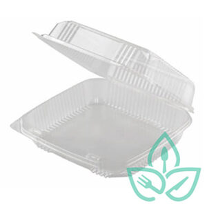 Compostable clear plastic hinged square clamshell food container