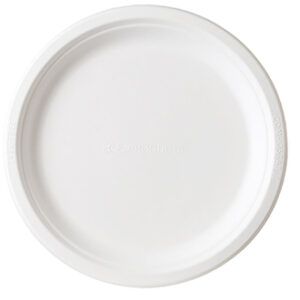 9inch round sugarcane plate compostable
