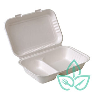 Two-compartment sugarcane clamshell rectangular takeout container