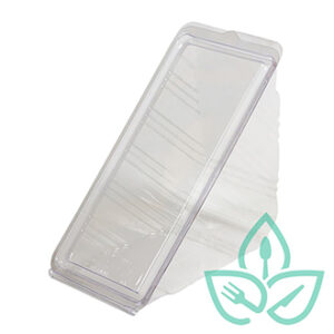 Compostable clear plastic sandwich wedge food containers