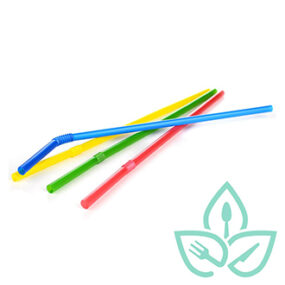 Compostable Flex Straws (Assorted Colors) – 7.75 inch