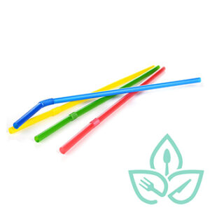 Multi-coloured compostable plastic bendy straws