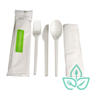 White compostable cutlery kit with knife, fork, spoon and nakin