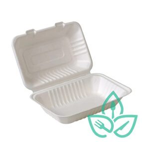 Compostable Sugarcane Clamshell – 9″ x 6″
