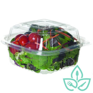 Compostable clear plastic clamshell food containers