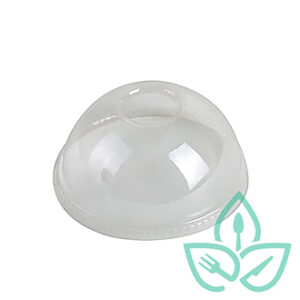Compostable plastic dome lid for food containers