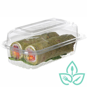 Compostable clear plastic hinged container