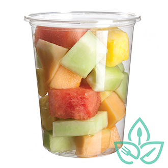 Compostable clear plastic cup with lid