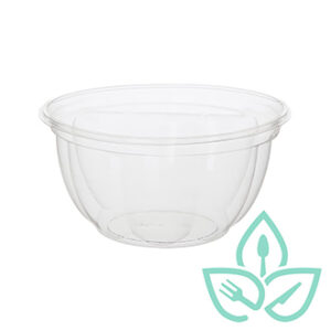 Compostable clear plastic bowl without lid