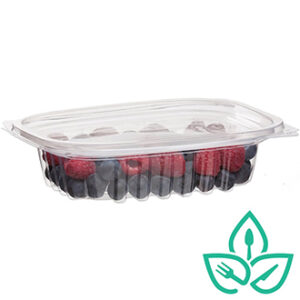 Clear rectangular commpostable plastic food container