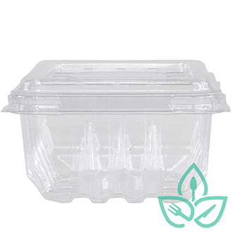Compostable clear berry container