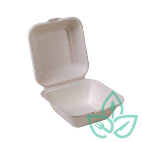 Compostable Sugarcane Clamshell – 6″ x 6″