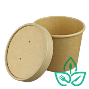 Kraft paper food container circular and deep without clear lid