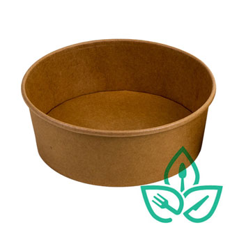 Kraft paper food container circular without clear lid