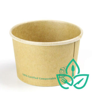 Kraft paper food container compostable circular without clear lid