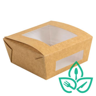 Kraft Paper Box with Compostable plastic window take away