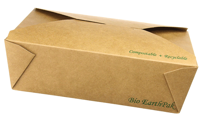 Recyclable rectangular take-away container
