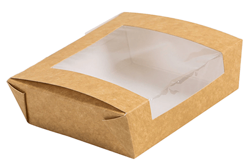 Rectangular takeout box with clear window