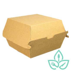 Kraft corrugated cardboard take-out box for burgers and small sandwiches